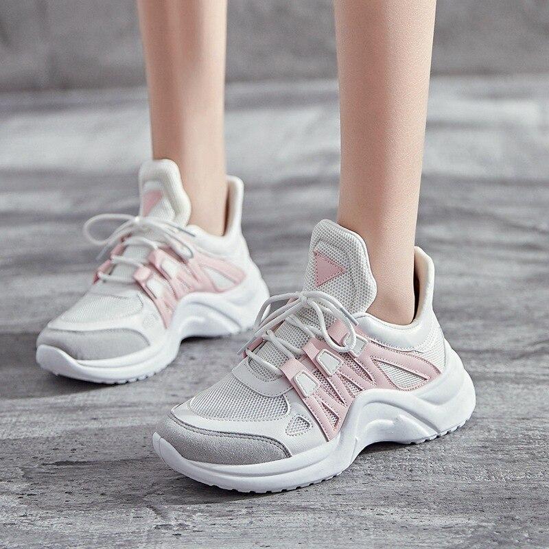 2018 Spring Fashion Women Clunky Sneakers Tenis Feminino Casual Shoes Outdoor Walking Shoe Woman Lace-Up Flats