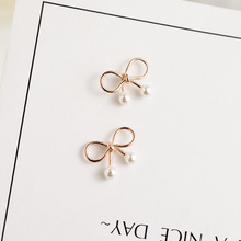 925 Sterling Silver Lovely Bow Pearl Ear Studs Gold Gift Female Female Sweet Cute Style Jewelry