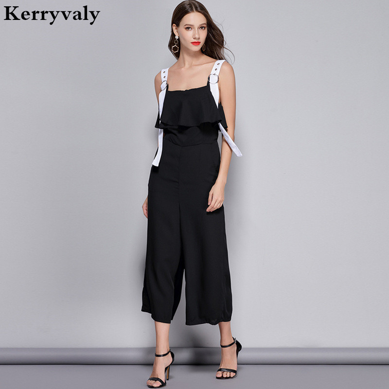 Black Suspenders Summer Jumpsuits Monos Mujer Largos 2019 Strapless Sexy Bodysuit Loose Legged Trousers D2039