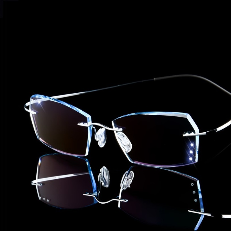 Width-144 Installed prescription glasses titanium men gradient color diamond-trimmed MR-8 lens finished big face glasses eyewear