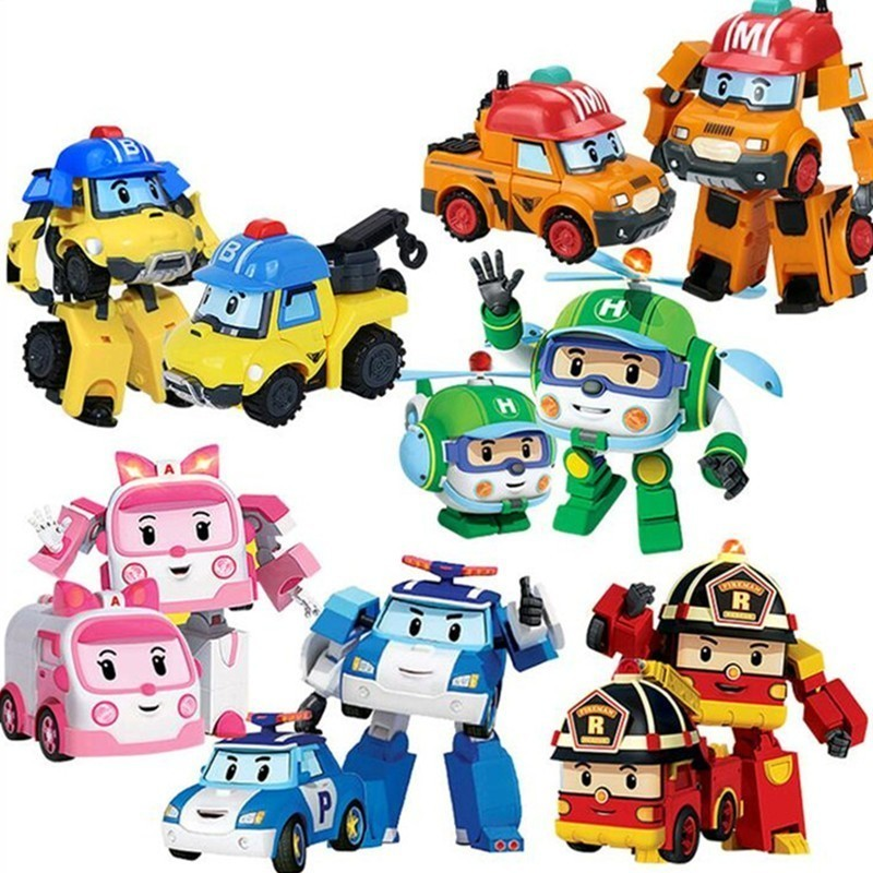Acion Figure 6 Styles Robocar Korea Robot Car Transformation Toys Poli Fire Truck Manual Deformation Kid Boys Gift For Children