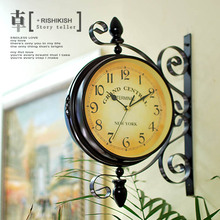 Fashion iron double faced clock rustic vintage metal clocks quieten fashion watches and clocks quartz clock