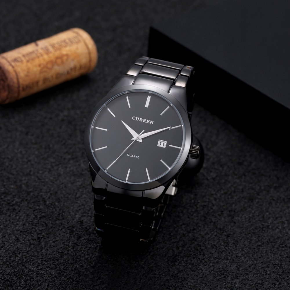 Prix pour Curren 8106 De Luxe Marque De Mode D'affaires Décontractée Montres Hommes Jour Date Etanche Quartz Black Watch Relogio Masculino