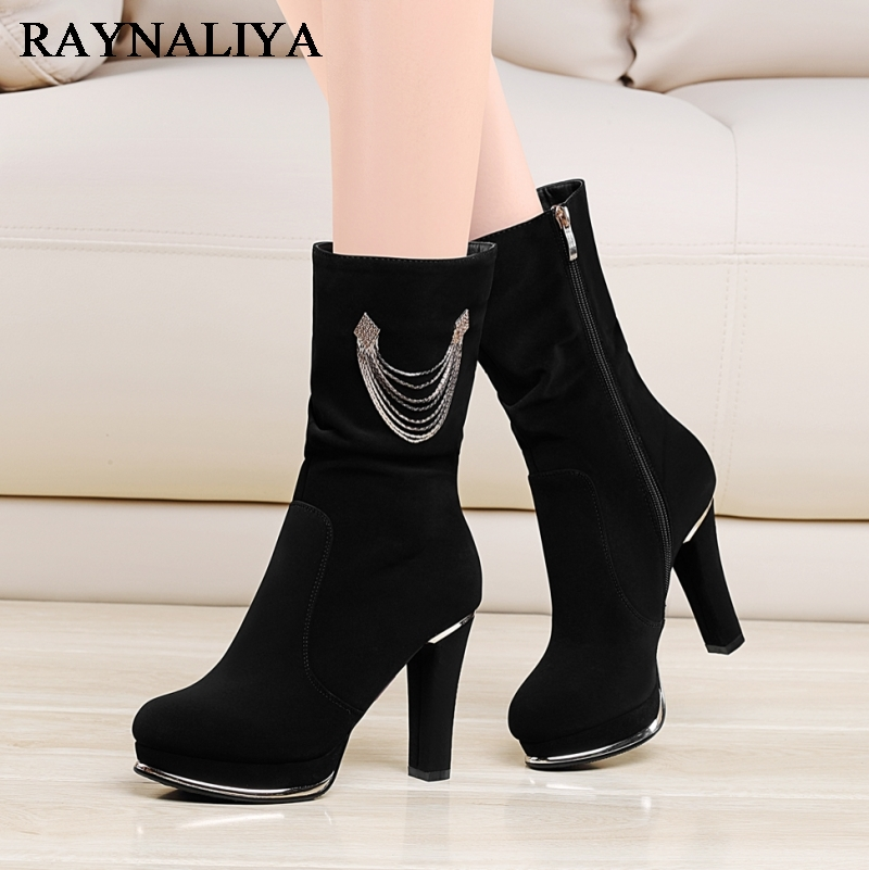 Cow Suede Beautiful Mid Calf Boots For Women Zip Martin Comfortable Casual Boots Round Toe High Heel Boot Shoes Black YG-A0047 double buckle cross straps mid calf boots
