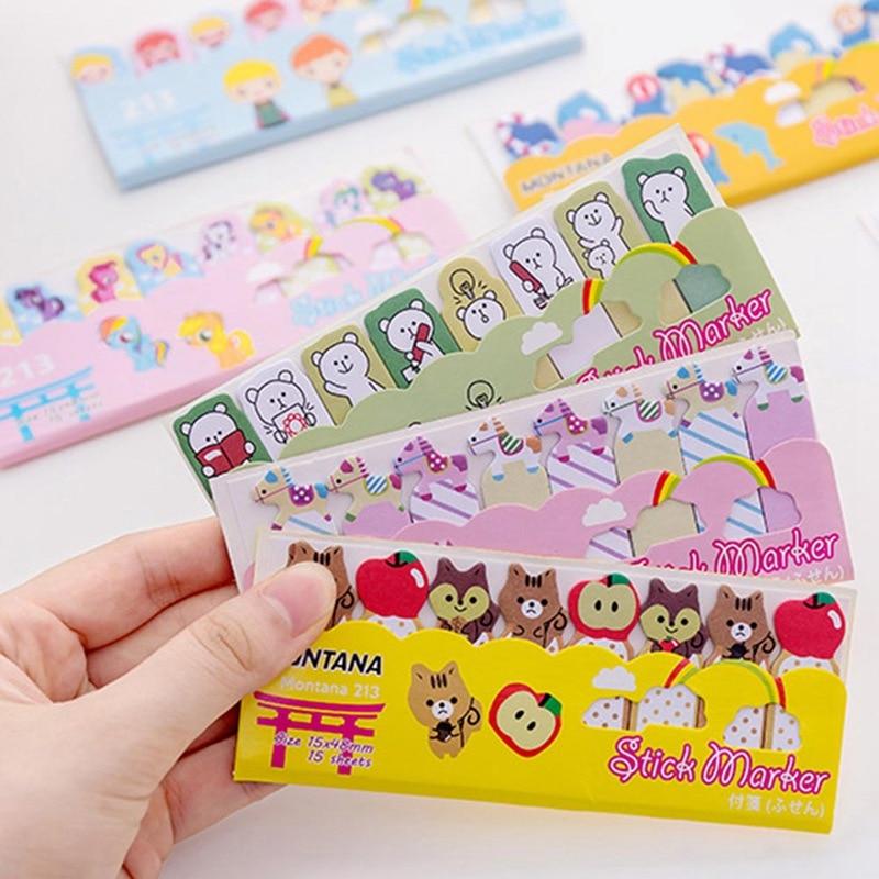 Memo Pads Korean Cute Kawaii Cartoon Animal Finger Unicorn Memo Pad Note Sticky Paper Stationery Cat Planner Sticker School Office