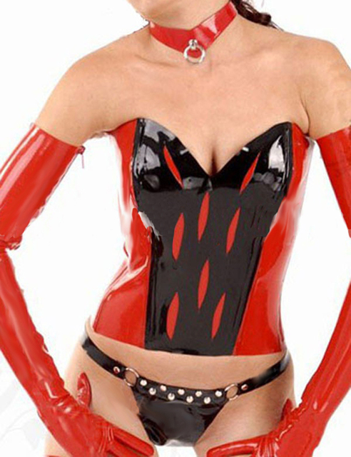 Women Bicolor latex corsets sexy lingerie for women gummi 1mm natural rubber bustiers plus size hot sale Customize service