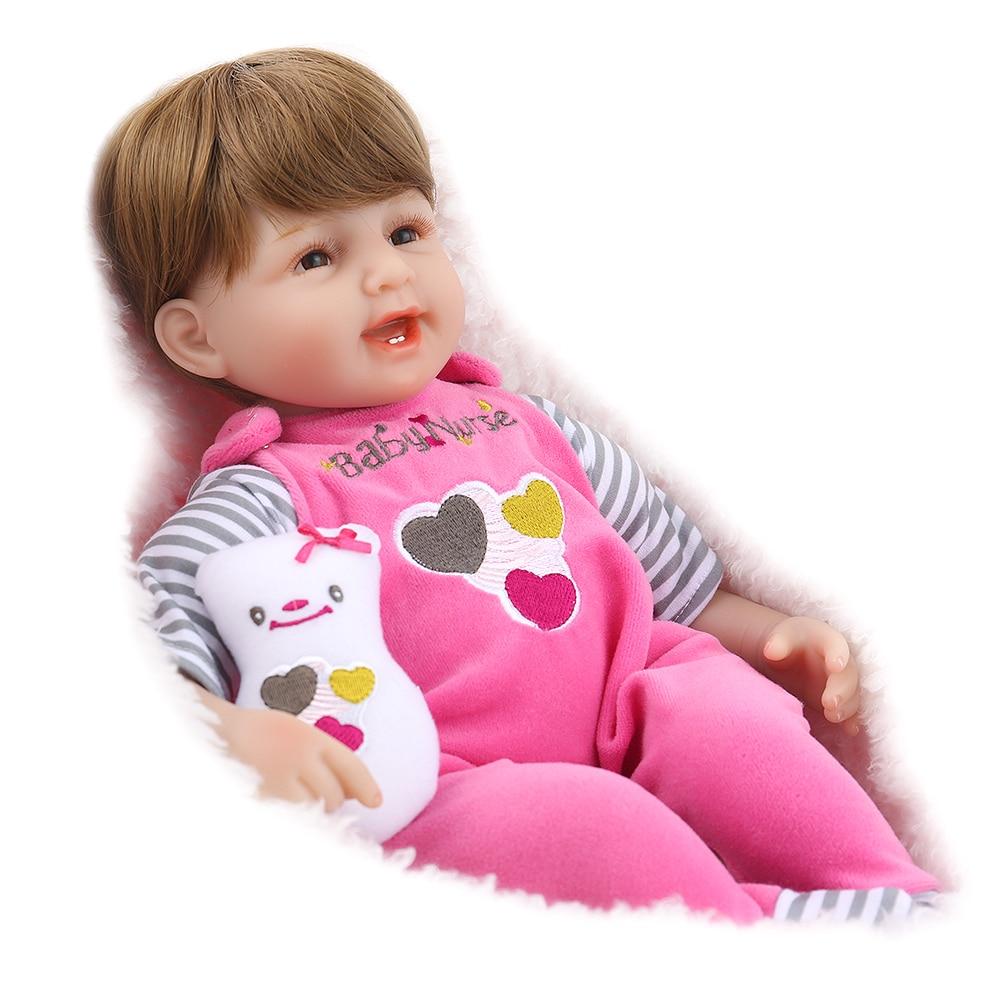 NPK DOLL Reborn Baby Doll 45cm lifelike newborn girl pink plush toy cloth body silicone limbs 16 inch christmas gift handmadeNPK DOLL Reborn Baby Doll 45cm lifelike newborn girl pink plush toy cloth body silicone limbs 16 inch christmas gift handmade