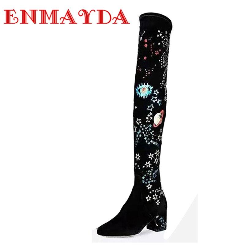 ФОТО ENMAYDA Over-the-Knee Zip Round Toe Chunky Heels High Heels Black Genuine leather Woman's Shoes Fashion Winter Women Long Boots