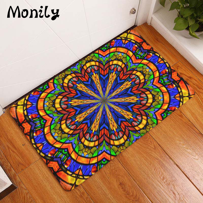 Monily Bohemia Waterproof Anti-Slip Door Mat India Hippe Flowers Carpets Bedroom Rugs Decorative Stair Mats Home Decor Crafts