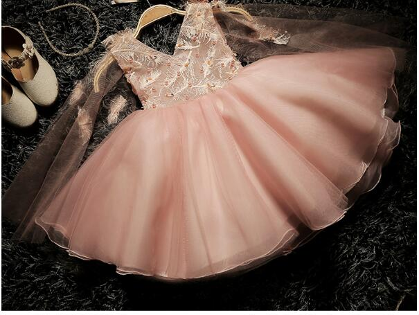 Girl's Formal Dress 2018 Flower Wedding Dresses Cute Kids Gauze Pearl V-Neck Party Ball Gown Children's Prom Dress Pink 3-13Y girl s formal dress 2018 flower girls wedding dresses kids gauze sequins party ball gown children s long prom dress white 3 13y