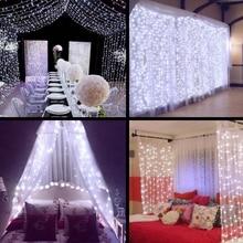 2x2/3x1/3x2/4x2 м светодиодная сосулька, занавеска, сказочный светильник, сказочный светильник, светодиодный Рождественский светильник для свадьбы, дома, сада, вечерние украшения