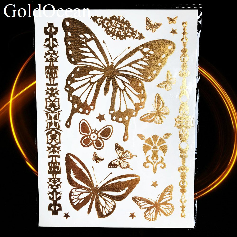 Bracelet Gold Metalic Temporary Tattoo Stickers Girl Body Arm Art Flash Fake Tattoo Indian Chains Women Wrist Tatoo Henna Flower