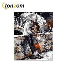 RIHE Lover Hug Diy Painting By Numbers Rainy Street Oil Cuadros Decoracion Acrylic Paint On Canvas Modern Wall Art