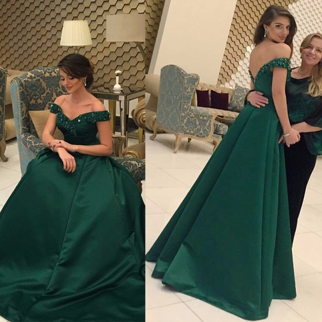 ab272eff9d21 Elegant Dark Green Off the Shoulder Prom Dresses 2016 Satin A-Line Evening  Dress Long Formal Party Gown robe de soiree MZ022