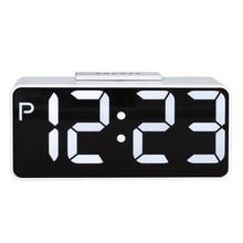 Large LED Digital Alarm Clock Snooze Electronic Desktop Clock Double Modern Double USB Digital Table Clock