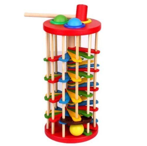 Развивающие деревянные игрушки вращающийся выбить мяч по лестнице Bench детей подарок на день рождения 1 шт.