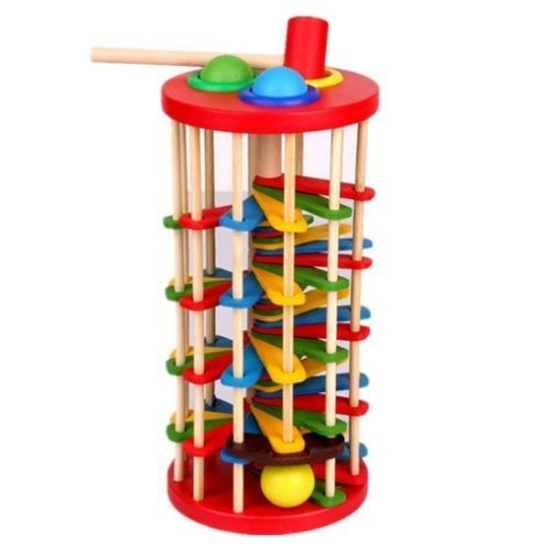Educational wooden toy rotating knock ball the ladder Bench children birthday gift 1pc