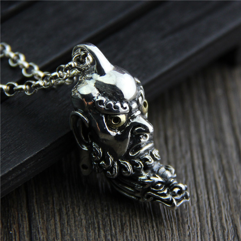 C&R Real 925 Sterling Silver Necklace Personality Retro Dharma Master Pendant amulet Religious Thai Silver Fine Jewelry