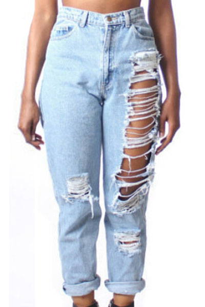 Adogirl Trendy Sexy Big Holes Ripped Jeans High Waist Boyfriend Pants Women  Plus Size Full Length - Online Buy Wholesale Cheap Ripped Jeans From China Cheap Ripped