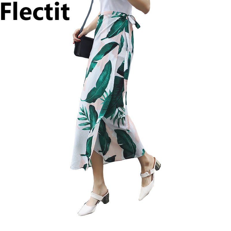 355a6df1b5f8 Detail Feedback Questions about Flectit Chiffon Green Musa Leaves Print  Wrap Maxi Long Skirt Women Vacation Beach Sarongs with Ties 2018 Summer  BOHO Skirt ...