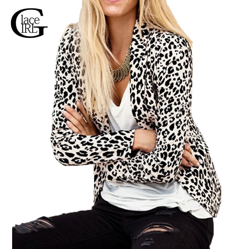Lace Girl Autumn Spring Women Leopard Print Jackets And ...