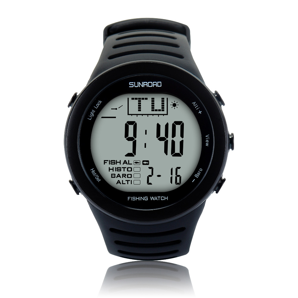 SUNROAD 2019 New Arrival Men's Digital Fishing Sports Watch with Barometer Altimeter Stopwatch Hiking Swmming Wristwatches