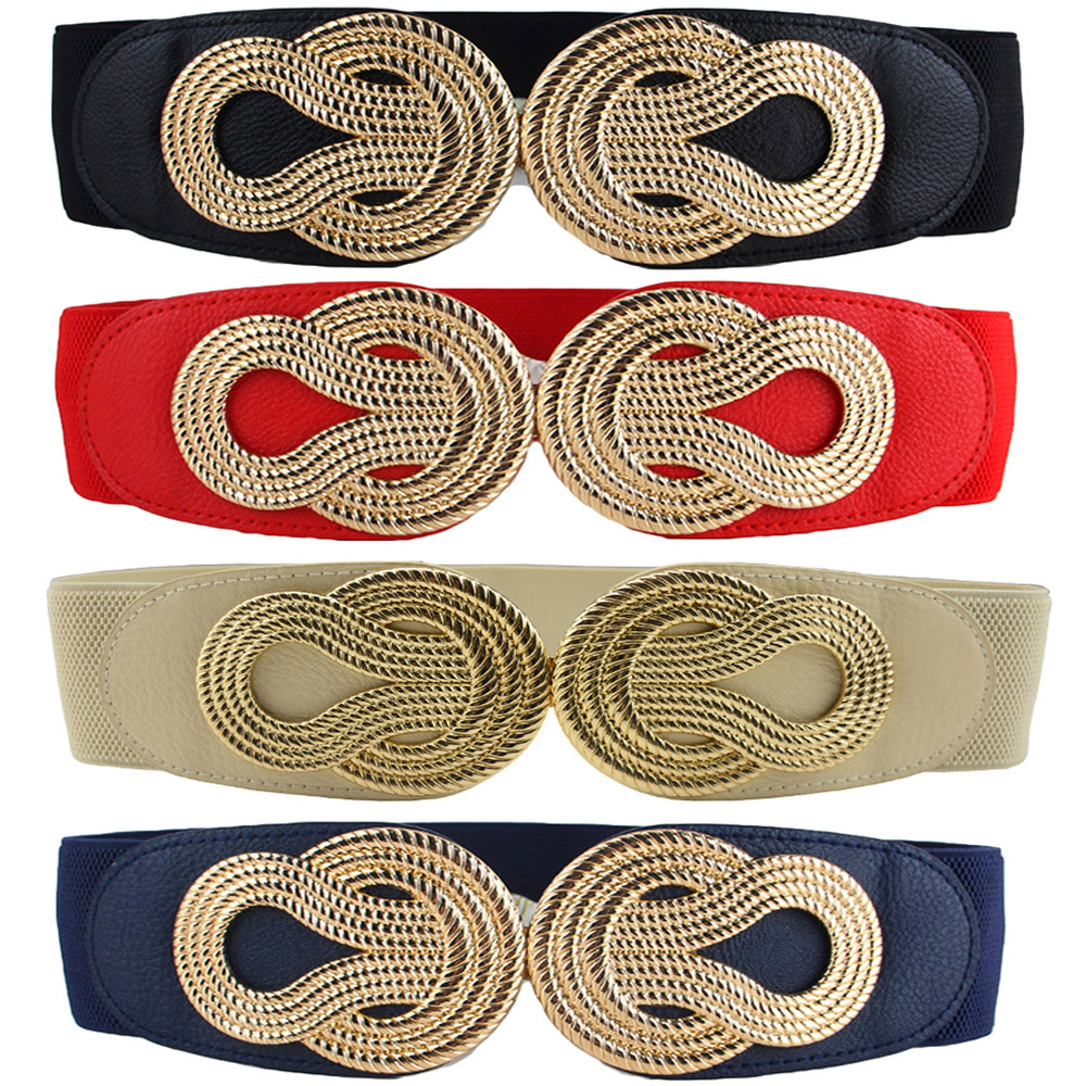 Women Vintage Chinese Knot Buckle Stretchy Belt Faux Leather Elastic Waist Band  BLTHG0353