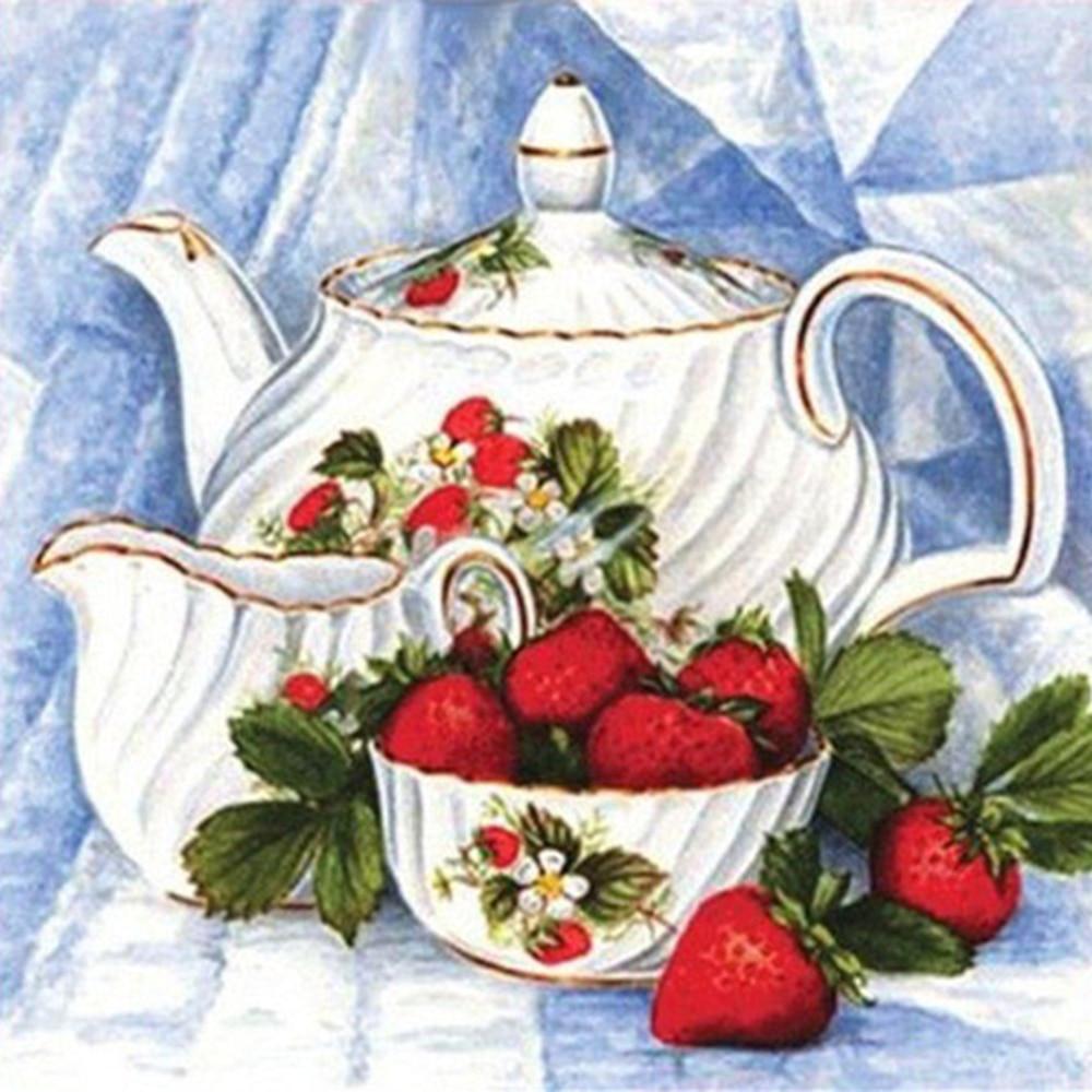 Diamond Embroidery Samovar Full Square Painting Strawberry Pattern Beadwork Sets Crystal Kitchen Decor A547 Cross Stitch Aliexpress
