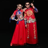 Red Oriental Style Women&Men Marriage Cheongsam Suit Classic Bride Groom Wedding Clothes Chinese Style Qipao Toast Clothing