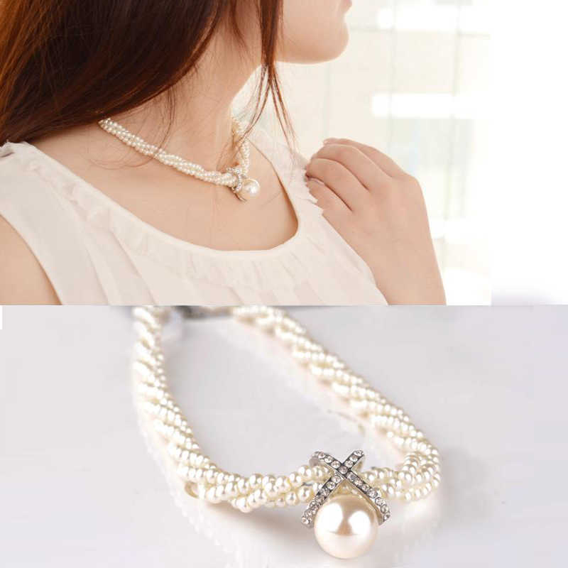 LNRRABC Statement Women Girls Choker Chunky Simulated Pearl Necklace Vintage Bib Necklace Pendant Fashion Jewelry