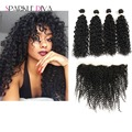 Brazilian Curly Virgin Hair With Closure  Full Frontal Lace Closure 13x4 With Bundles Brazilian Curly Hair With Frontal