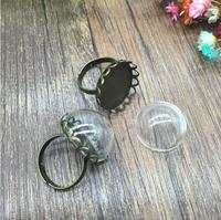5sets retro antique bronze crown lace edge adjustable ring tray 20mm clear half round handmade diy vial ring making finding