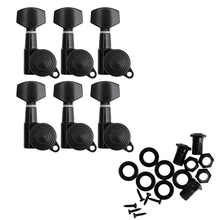 Set of 6 Guitar String Tuning Pegs Locking Tuners Keys Machine Heads Black and Chrome New
