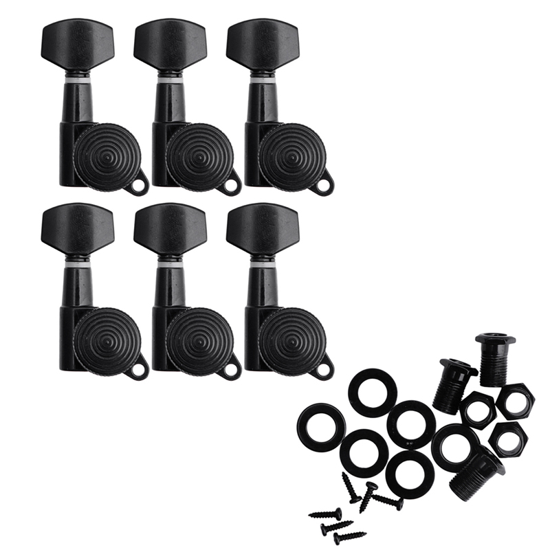 Set of 6 Guitar String Tuning Pegs Locking Tuners Keys Machine Heads Black and Chrome New over 50 brain games
