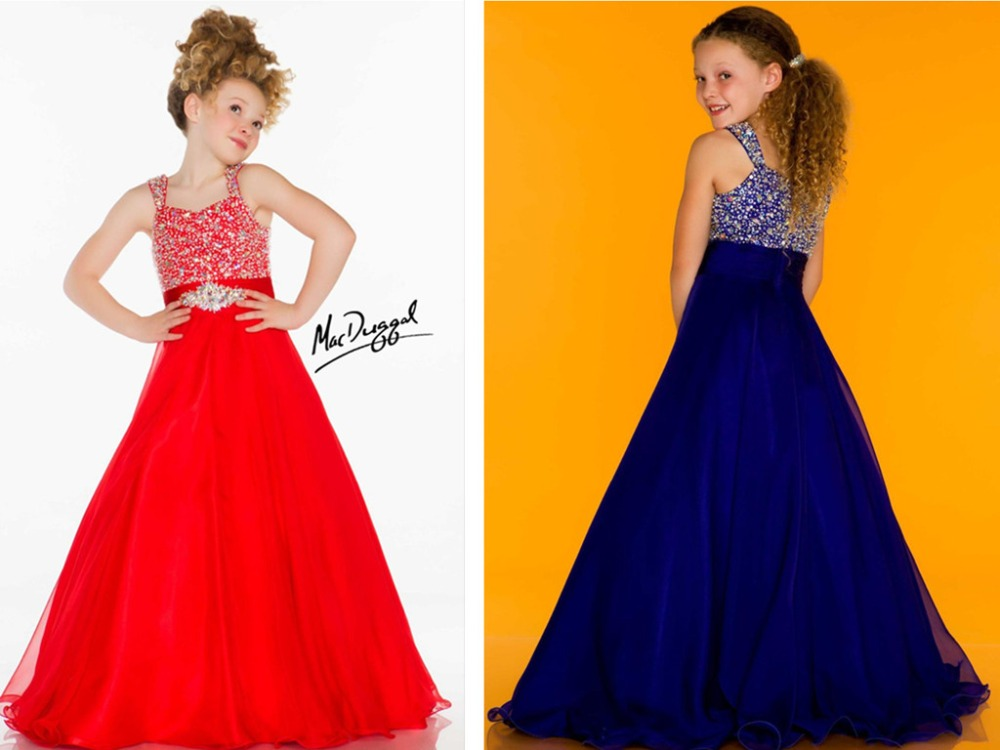 first communion   dresses   for   girls   red long   Flower     Girl     Dresses   2016 vestidos Pageant crystal beading a-line chiffon sequined