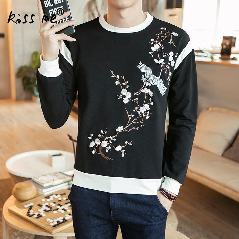 New Mens Hoddies Sweatshirts Print Tree Bird and Floral Chinese Style Brand Men Hoodie Slim Basic Outwear Plus Size 3XL 4XL 5XL