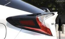 Lapetus Rear Tail Trunk Lights Lamp Eyelid Eyebrow Frame Cover Trim Fit For Toyota C-HR CHR 2016 - 2019 Bright Carbon Fiber ABS цена
