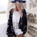 Retro Embroidery Snow Flower Crotoch Lace Hem Cardigan Kimono Shirt 2017 Brand Show style Women's Beach Holiday Blouse Tops