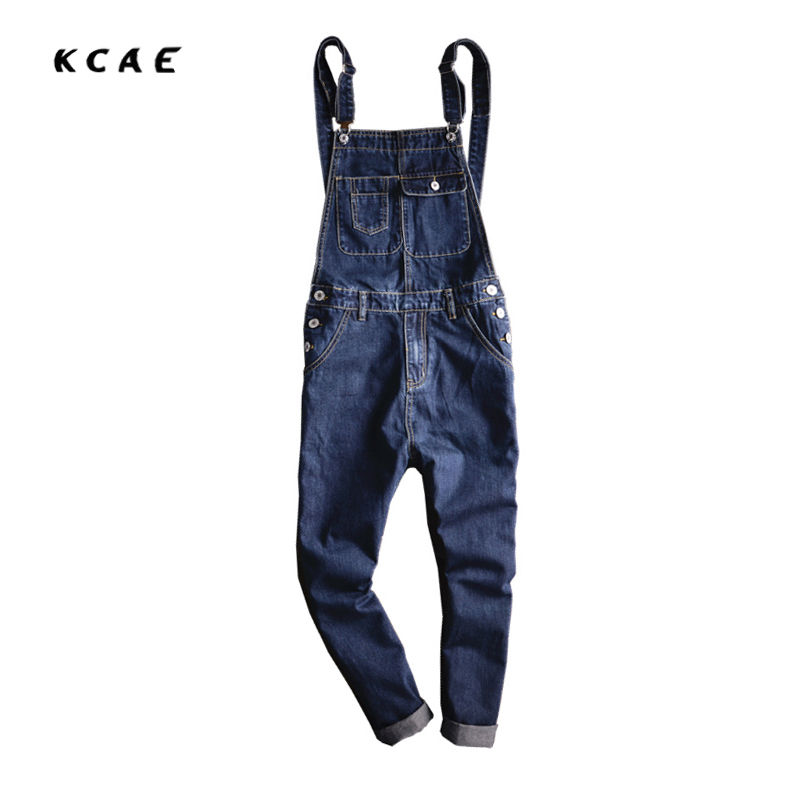 Blue Denim Overalls Men 2017 New Fashion Bib Jeans Mens Overall Jeans With Suspenders Pocket Ankle Length Free Shipping men distressed denim overalls mens denim with suspenders new 2017 hole design washed male bib jeans