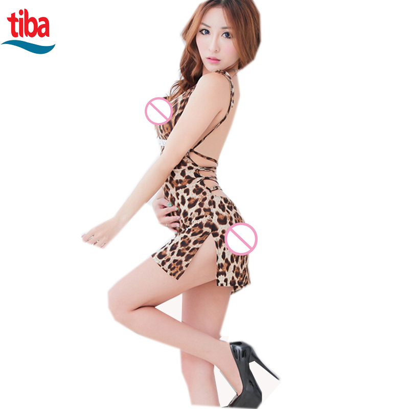 TB-0764 Women Sexy Lingerie Backless Leopard Dress Evening Sexy Sleepwear Nightgown Sexy Uniform Costume Backless gift