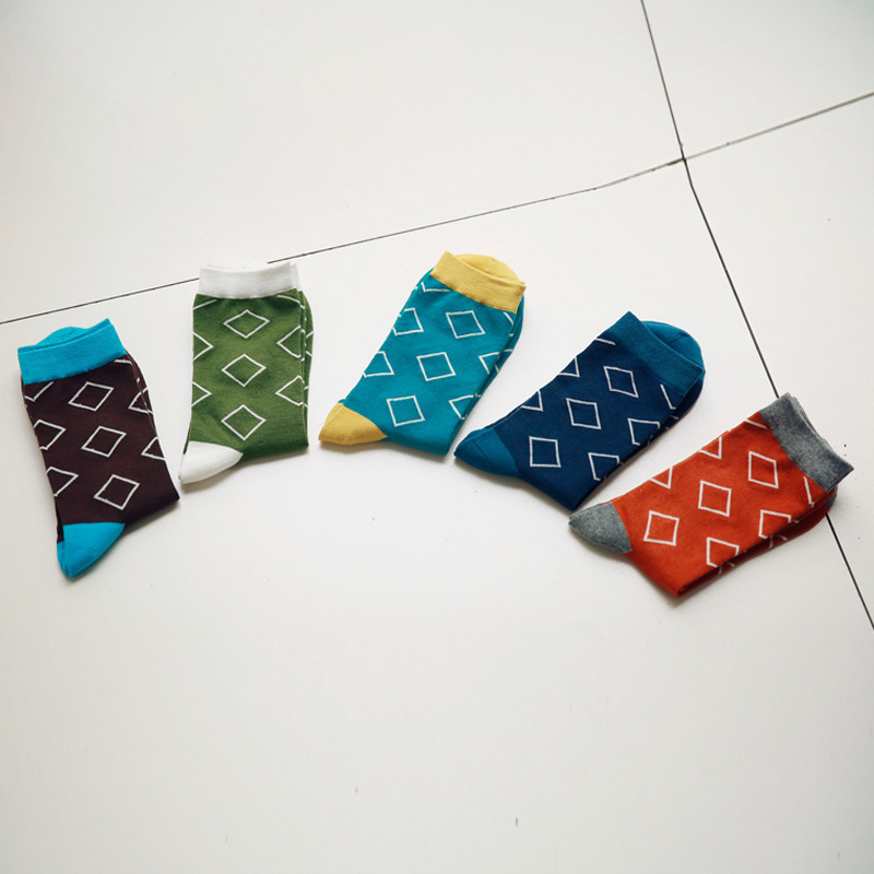5Pairs/Lot Men Socks New Rhombus Pattern Brand Hombre Happy Business Cotton Crew Meias Masculinas England Style Sox Wholesale