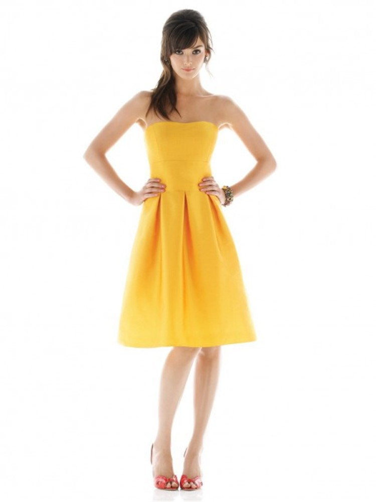 Popular Yellow Strapless Bridesmaid Dresses-Buy Cheap Yellow ...