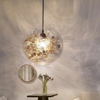 Modern LED minimalistModern Tangle Globe Flower Light Pendant Lamp Ac 90-260v Glass novelty Lighting Fixture for bar bedroom