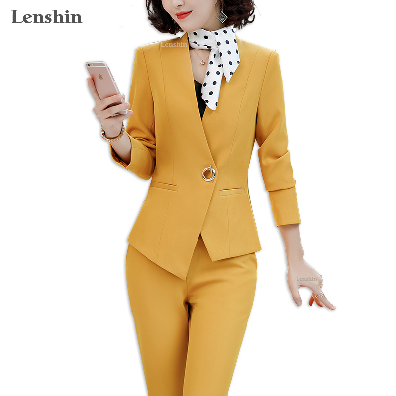 Lenshin 2 Pieces Set Asymmetrical Formal Pant Suit Office Lady Uniform Designs For Women Business Suits Work Wear