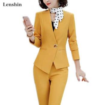 Lenshin 2 Pieces set Asymmetrical Formal Pant Suit Office Lady Uniform Designs for Women Business Suits Work Wear - DISCOUNT ITEM  16% OFF All Category