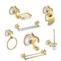 Роскошные Античное золото аксессуары для ванной набор вешалка для полотенец крюк мыло бумага держатель кисточки 7 шт. компосылка Бо