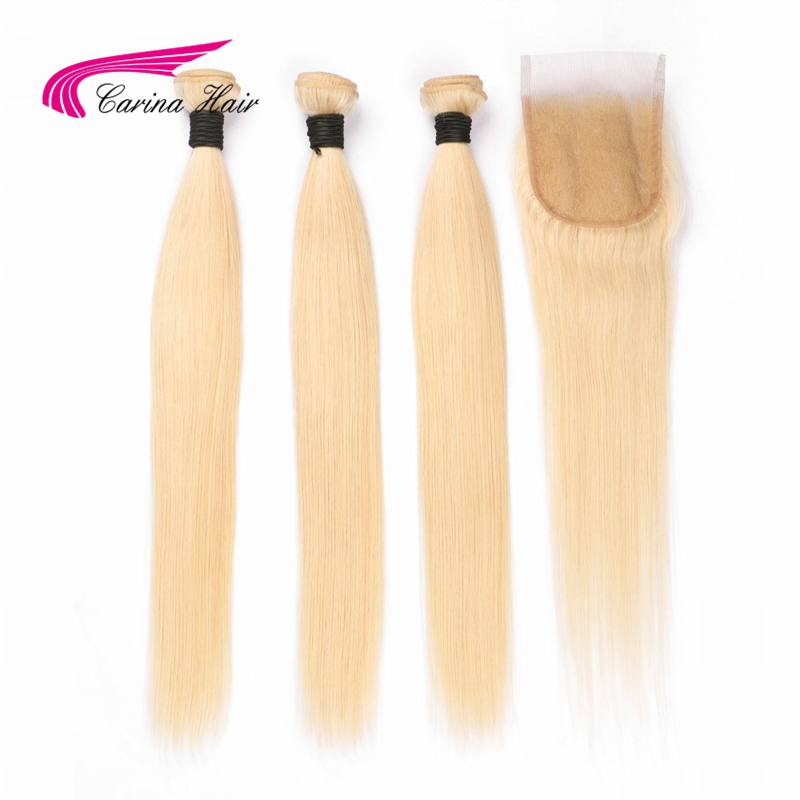 Carina Hair Indian Remy Human Hair Blonde Hair 3 Bundles With 4x4 Lace Closure Pure 613 Color Straight Hair Wefts With Closure