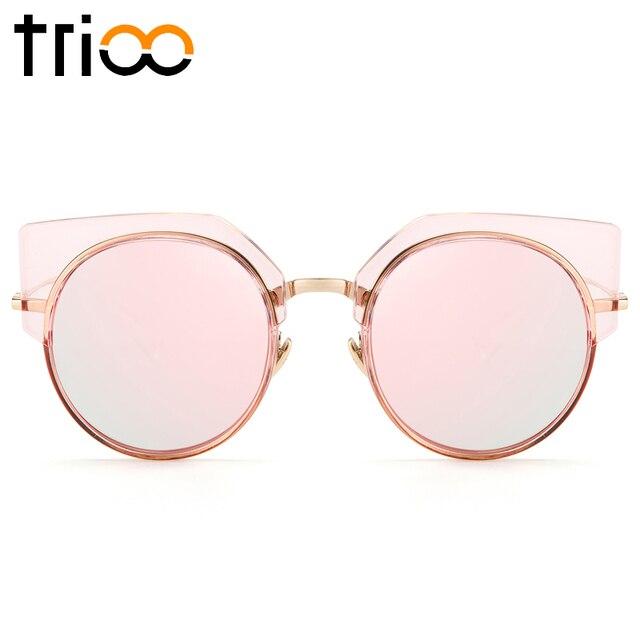 TRIOO Rosa Claro Armação Dos Óculos De Sol Para As Mulheres Rua Espetáculo  Oculos Shades RoundSun 9a59268fc4