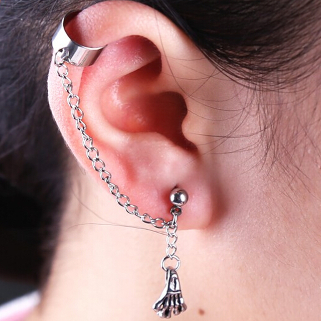 Long Chain Dangle Earrings Skeleton Skull Hand Pendent Cool Ear Jewelry Man Woman Fashion