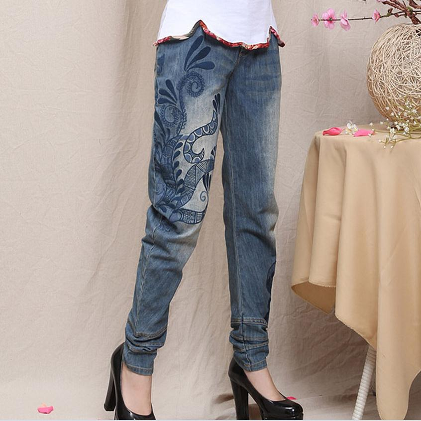 ФОТО 3XL Plus size Retro national fashion embroidery loose denim trousers 2017 autumn hand white wash jeans w1259 free shipping